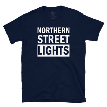 Wulf & Supply NORTHERN STREETLIGHTS STATEMENT TEE, Navy