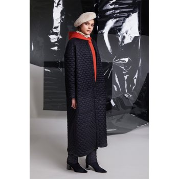 R/H Studio Bobi Long Coat, Black Quilted