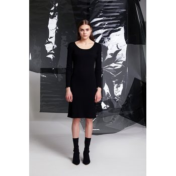 R/H Studio Classic Dress, Black Wool Jersey