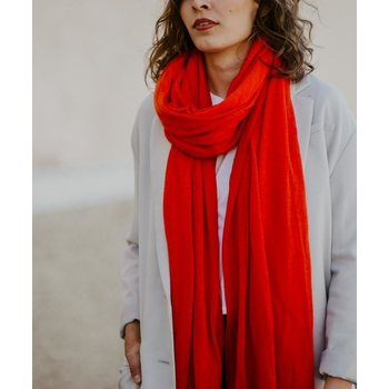 Store of Hope Large Knitted Cashmere Scarf, Salsa