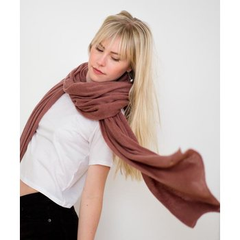 Store of Hope Large Knitted Cashmere Scarf, Copper Pink