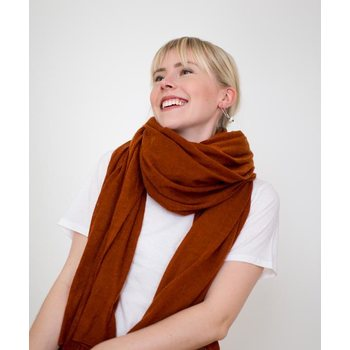 Store of Hope Large Knitted Cashmere Scarf, Almond