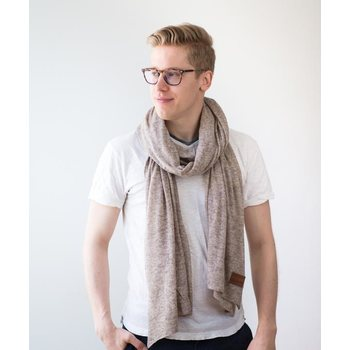 Store of Hope Medium Knitted Cashmere Scarf, Light Sand