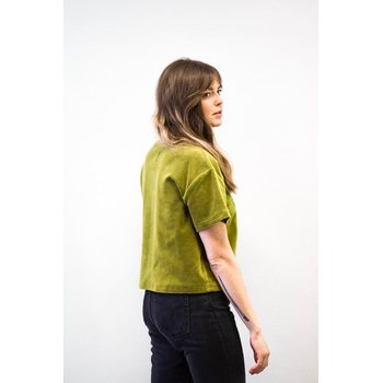 Mori Collective Velour T-Shirt, Forest Green